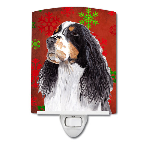 Buy this Springer Spaniel Red and Green Snowflakes Holiday Christmas Ceramic Night Light SC9401CNL