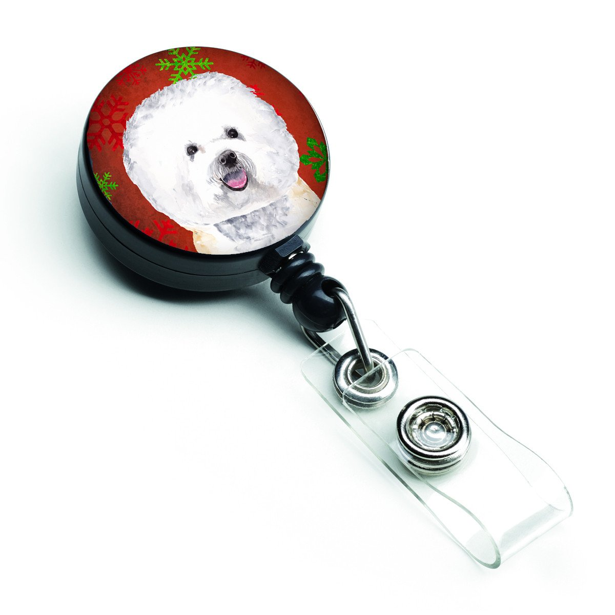 Buy this Bichon Frise Red and Green Snowflakes Holiday Christmas Retractable Badge Reel SC9402BR