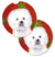 Buy this Bichon Frise Red and Green Snowflakes Holiday Christmas Set of 2 Cup Holder Car Coasters SC9402CARC