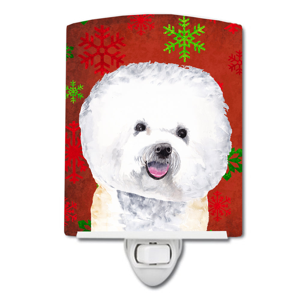 Buy this Bichon Frise Red and Green Snowflakes Holiday Christmas Ceramic Night Light SC9402CNL