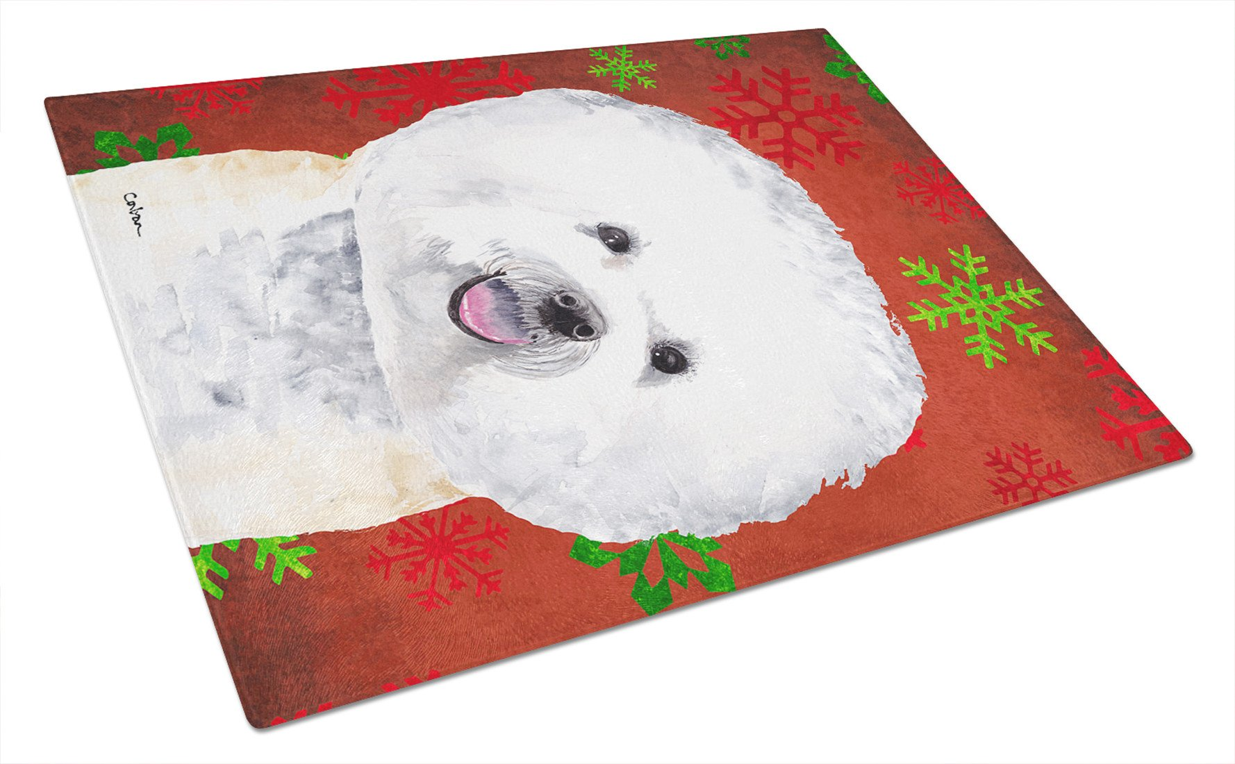 Bichon Frise Red and Green Snowflakes Christmas Glass Cutting Board Large - the-store.com