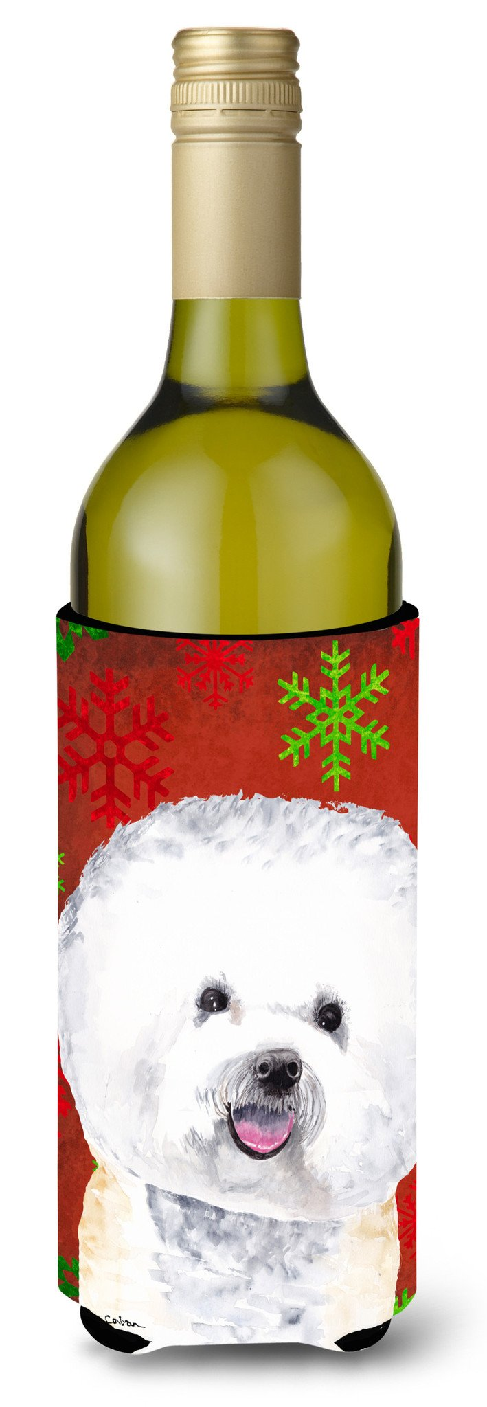 Buy this Bichon Frise  Snowflakes Holiday Christmas Wine Bottle Beverage Insulator Beverage Insulator Hugger