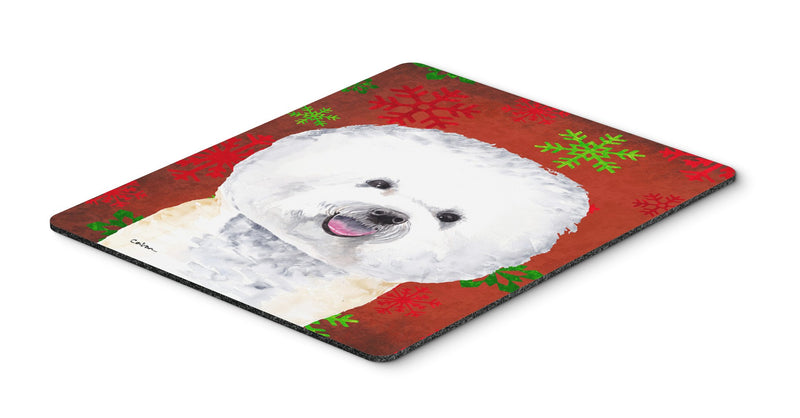 Buy this Bichon Frise Red and Green Snowflakes Christmas Mouse Pad, Hot Pad or Trivet