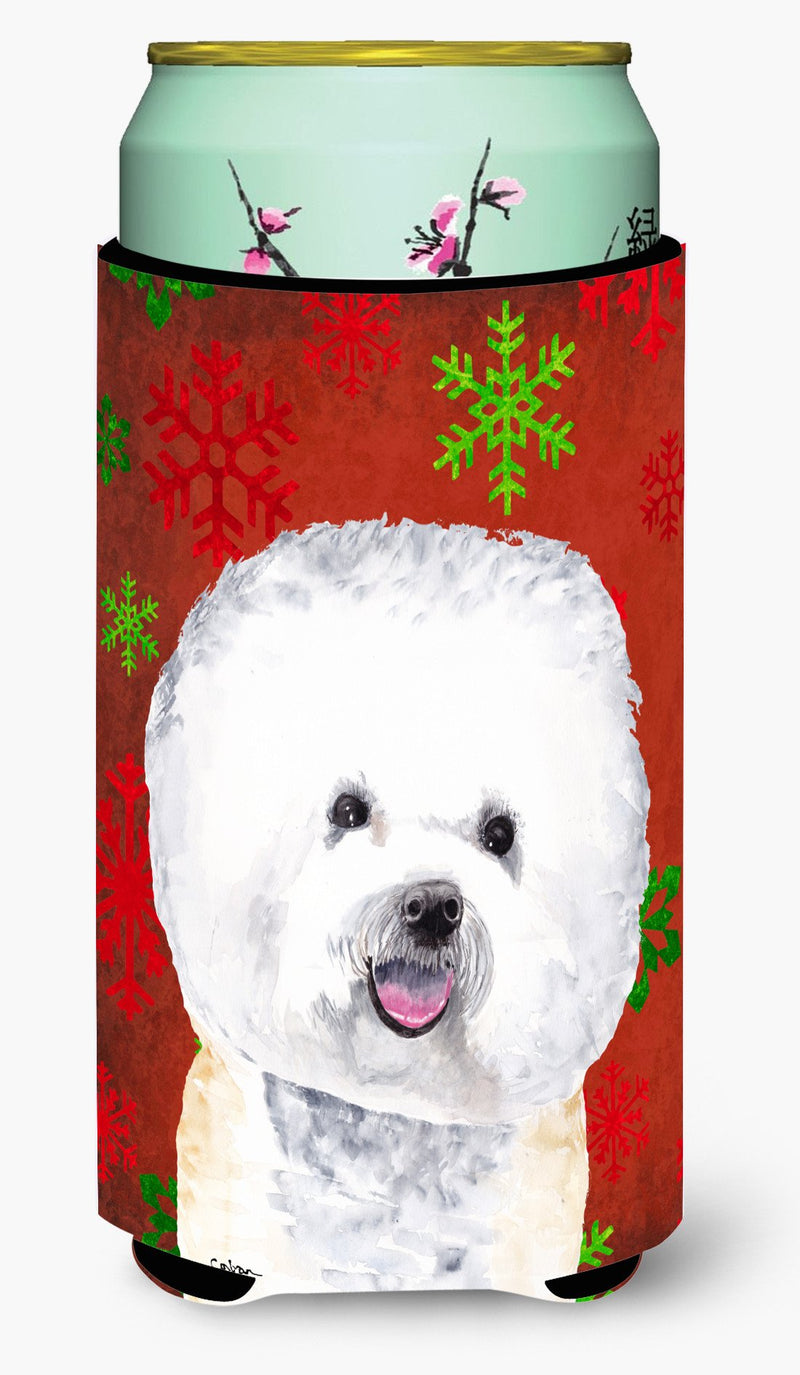 Buy this Bichon Frise Red and Green Snowflakes Holiday Christmas  Tall Boy Beverage Insulator Beverage Insulator Hugger