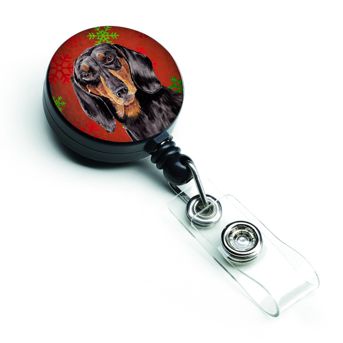 Dachshund Red and Green Snowflakes Holiday Christmas Retractable Badge Reel SC9403BR by Caroline's Treasures