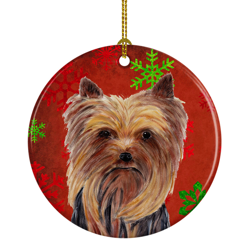 Yorkie Red Snowflakes Holiday Christmas Ceramic Ornament SC9405 by Caroline's Treasures