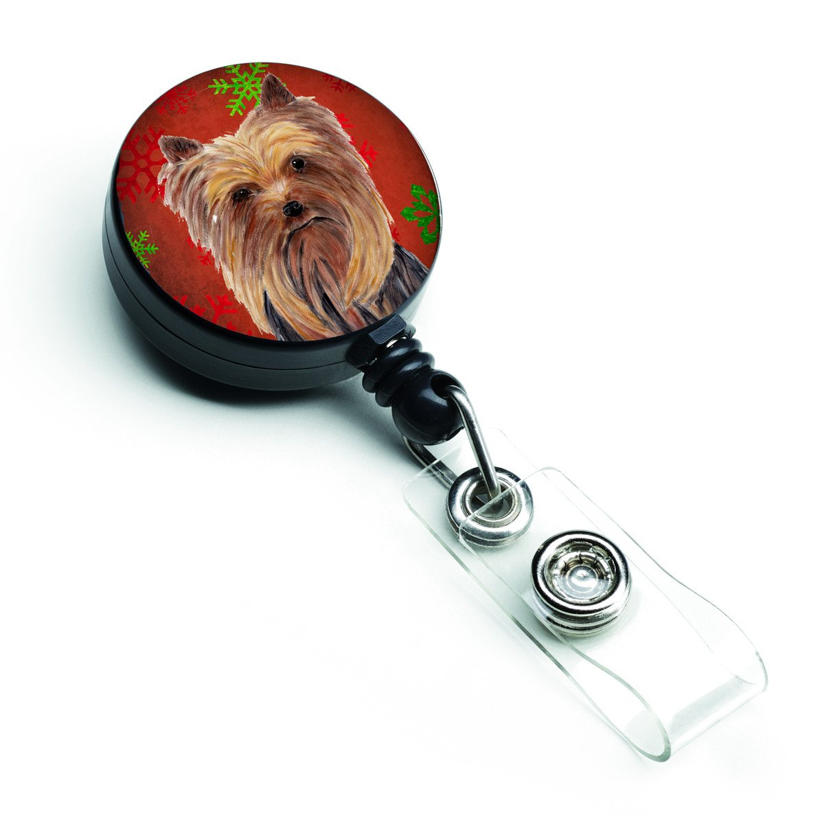 Yorkie Red and Green Snowflakes Holiday Christmas Retractable Badge Reel SC9405BR by Caroline's Treasures