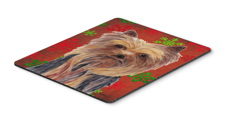 Buy this Yorkie Red and Green Snowflakes Holiday Christmas Mouse Pad, Hot Pad or Trivet