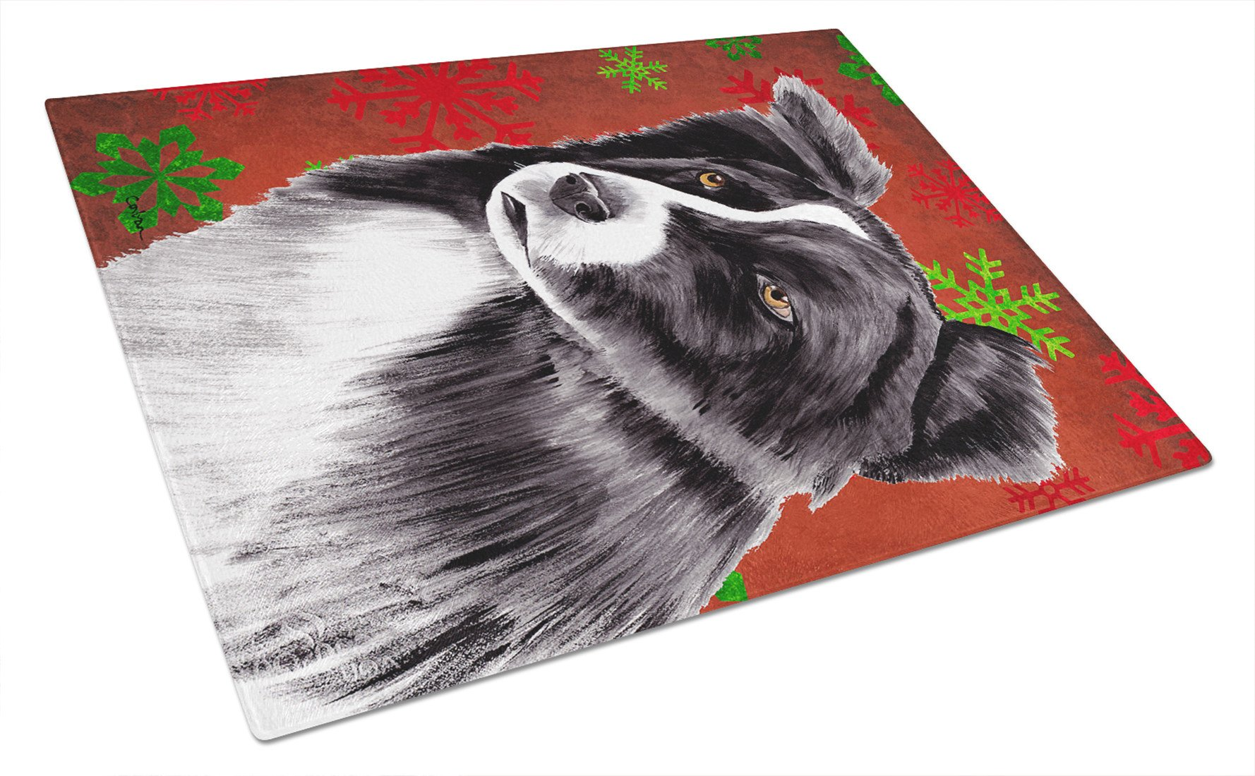Border Collie Red and Green Snowflakes Christmas Glass Cutting Board Large by Caroline's Treasures
