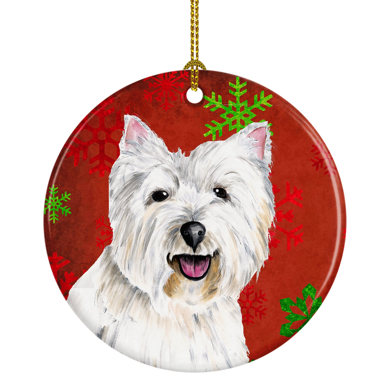 Westie Red Snowflakes Holiday Christmas Ceramic Ornament SC9410 by Caroline's Treasures