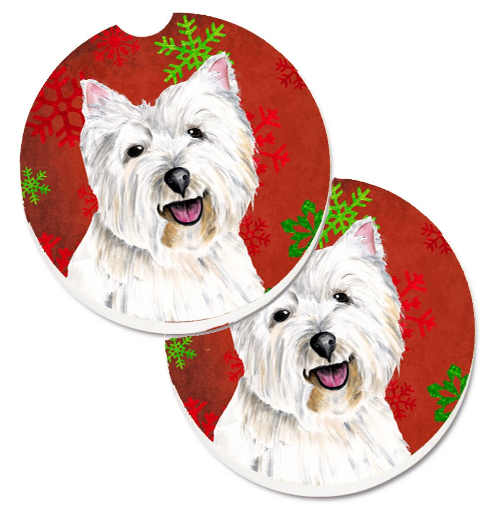 Westie Red and Green Snowflakes Holiday Christmas Set of 2 Cup Holder Car Coasters SC9410CARC by Caroline's Treasures