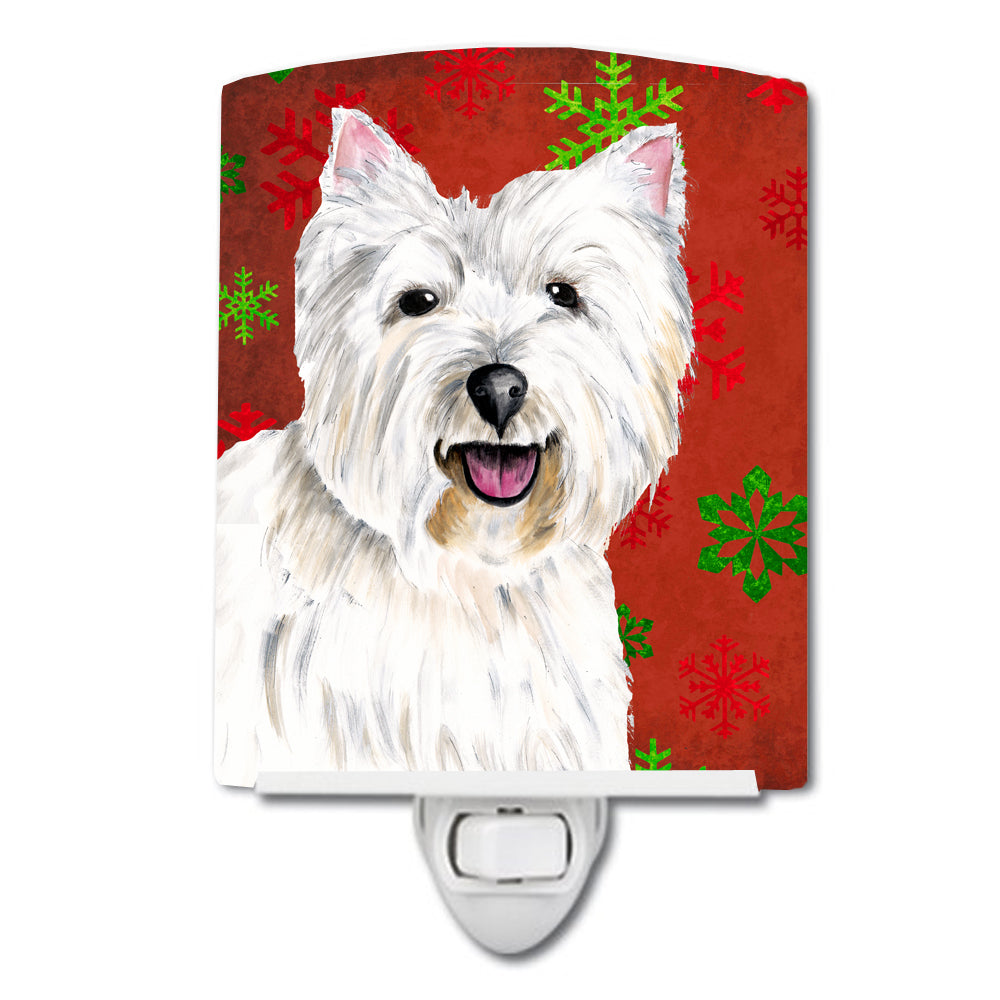 Westie Red and Green Snowflakes Holiday Christmas Ceramic Night Light SC9410CNL by Caroline's Treasures