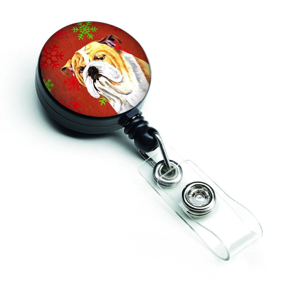 Bulldog English Red and Green Snowflakes Holiday Christmas Retractable Badge Reel SC9414BR by Caroline's Treasures