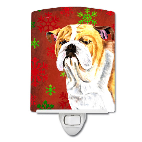 Buy this Bulldog English Red and Green Snowflakes Holiday Christmas Ceramic Night Light SC9414CNL