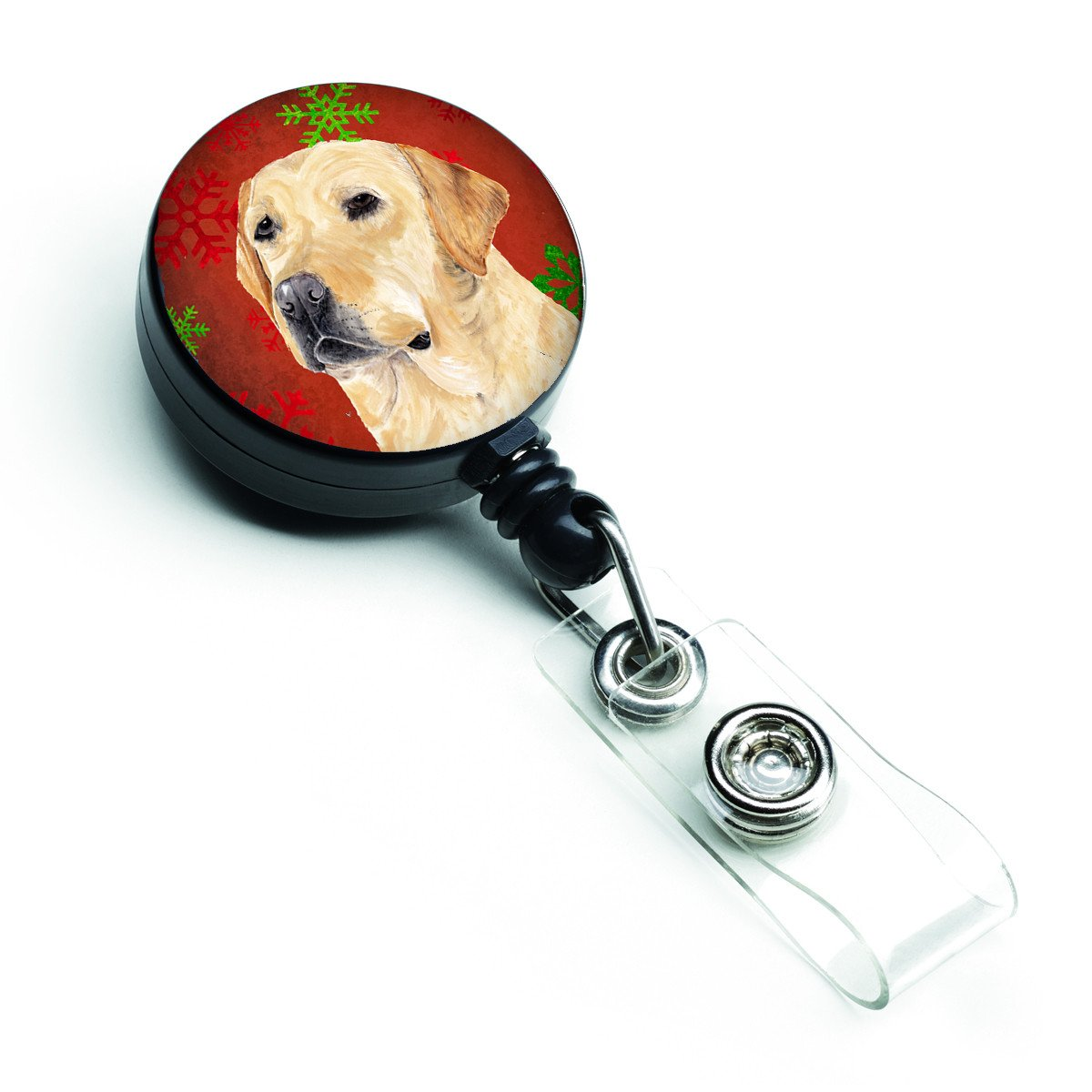 Buy this Labrador Red and Green Snowflakes Holiday Christmas Retractable Badge Reel SC9416BR