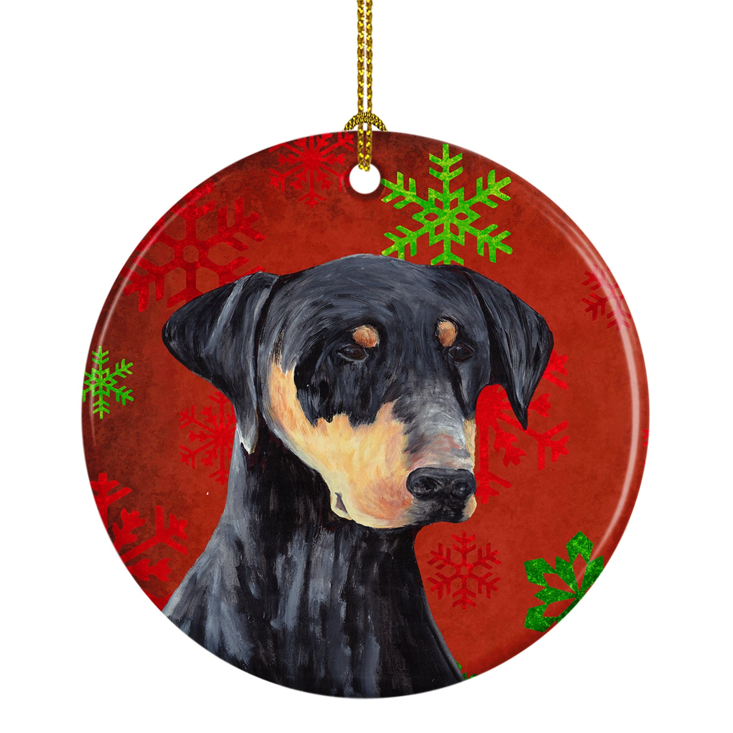 Doberman Red Snowflakes Holiday Christmas Ceramic Ornament SC9417 by Caroline's Treasures