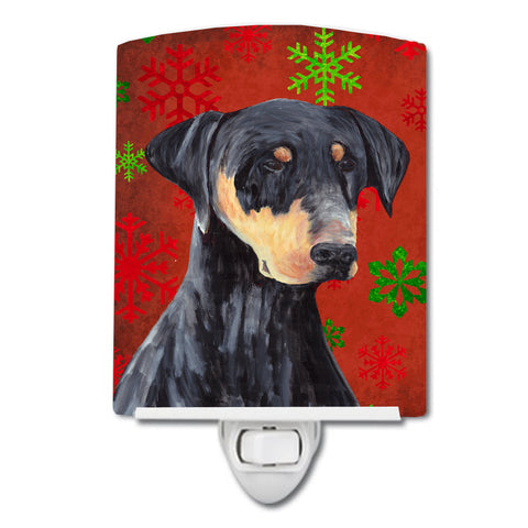 Buy this Doberman Red and Green Snowflakes Holiday Christmas Ceramic Night Light SC9417CNL