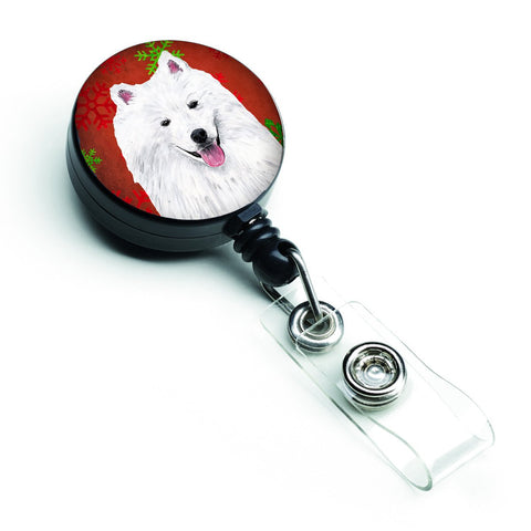 Buy this American Eskimo Red and Green Snowflakes Holiday Christmas Retractable Badge Reel SC9419BR