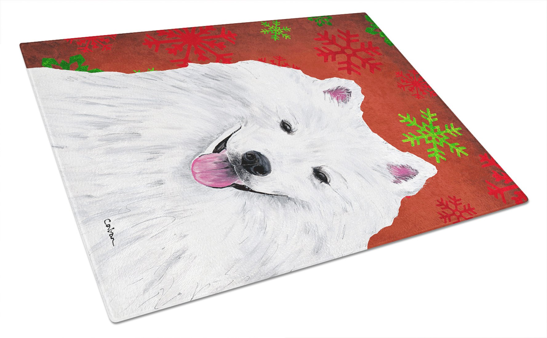 American Eskimo Red and Green Snowflakes Christmas Glass Cutting Board Large by Caroline's Treasures
