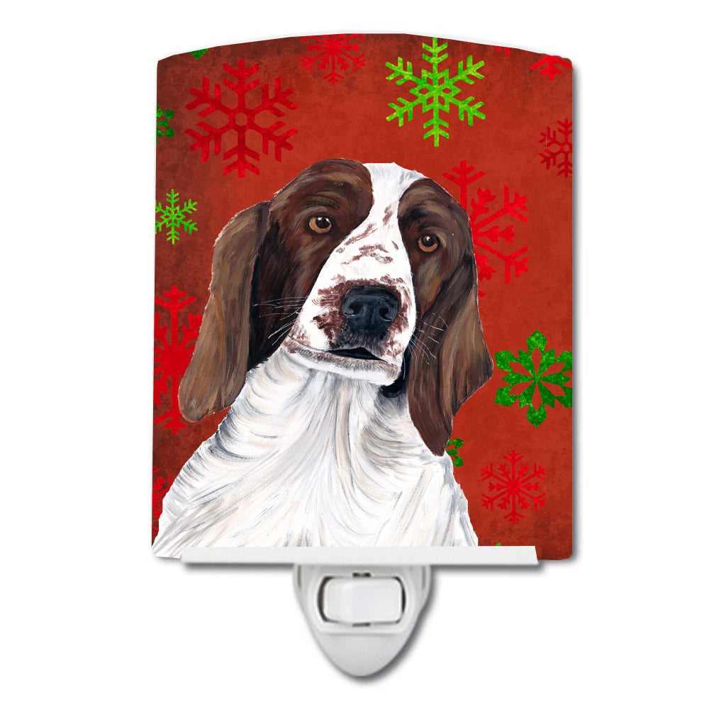 Buy this Welsh Springer Spaniel Red  Green Snowflakes Holiday Christmas Ceramic Night Light SC9420CNL