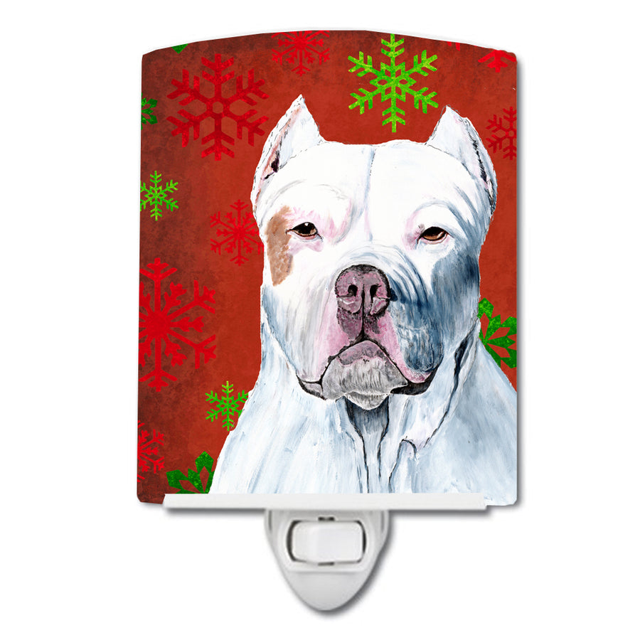 Buy this Pit Bull Red and Green Snowflakes Holiday Christmas Ceramic Night Light SC9421CNL