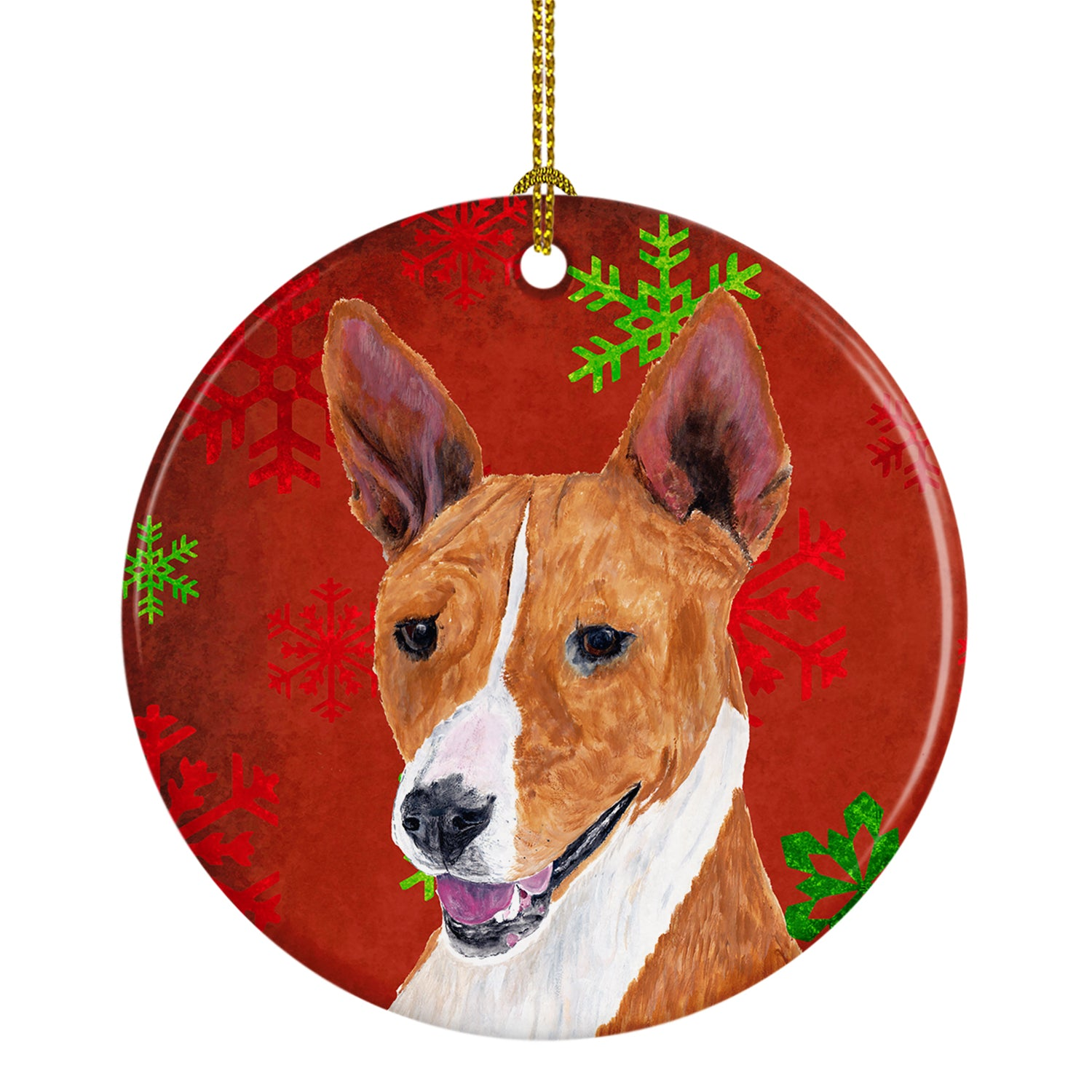 Basenji Red Snowflakes Holiday Christmas Ceramic Ornament SC9427 by Caroline's Treasures
