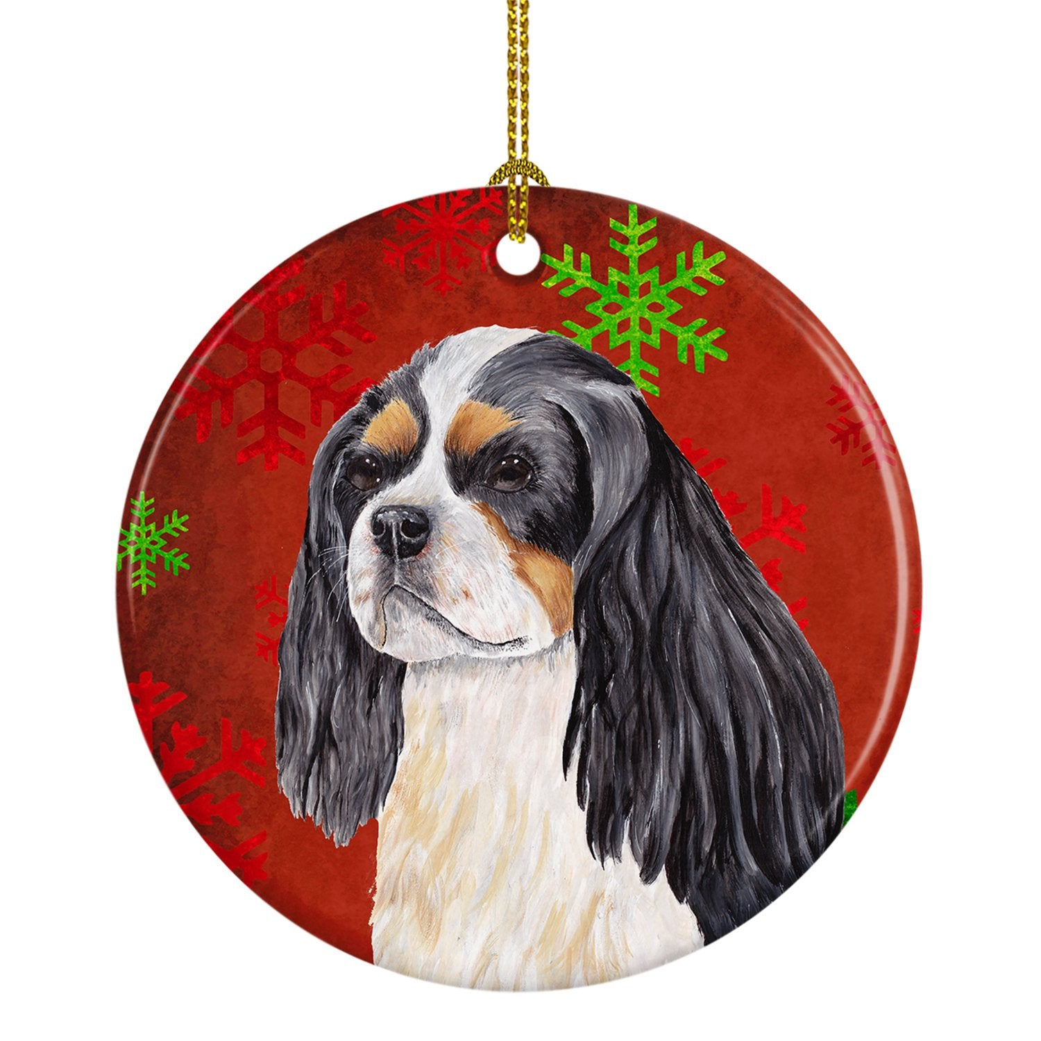 Cavalier Spaniel Red Snowflakes Holiday Christmas Ceramic Ornament SC9431 by Caroline's Treasures