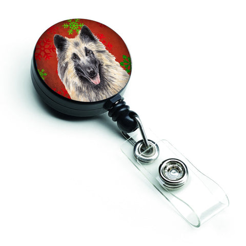 Buy this Belgian Tervuren Red and Green Snowflakes Holiday Christmas Retractable Badge Reel SC9432BR