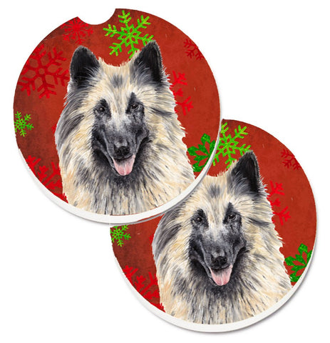 Buy this Belgian Tervuren Red and Green Snowflakes Holiday Christmas Set of 2 Cup Holder Car Coasters SC9432CARC
