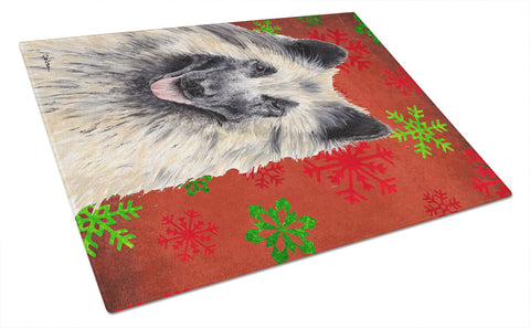 Buy this Belgian Tervuren Red and Green Snowflakes Christmas Glass Cutting Board Large