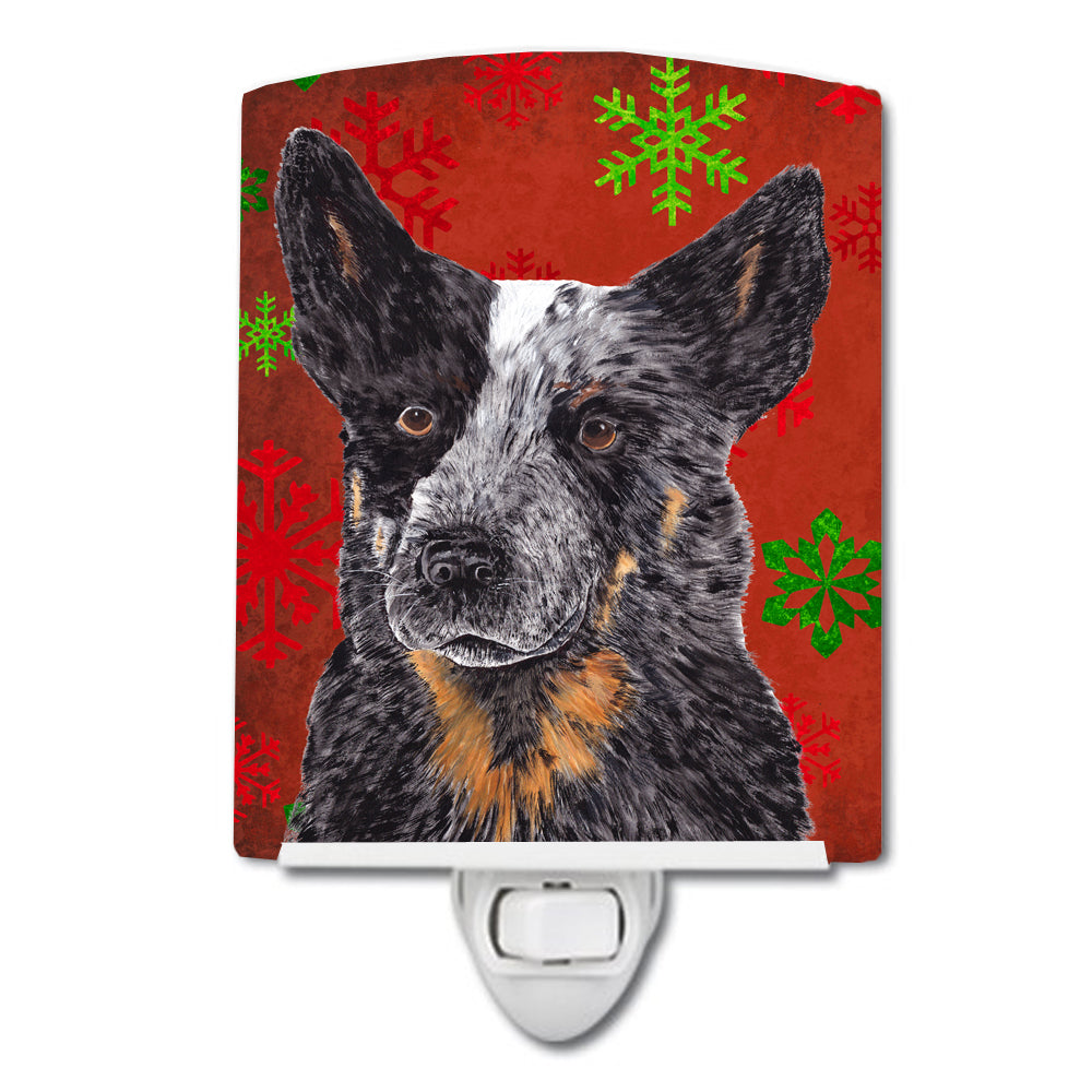 Buy this Australian Cattle Dog Red Green Snowflakes Christmas Ceramic Night Light SC9436CNL