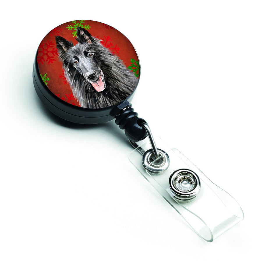 Buy this Belgian Sheepdog Red and Green Snowflakes Holiday Christmas Retractable Badge Reel SC9438BR