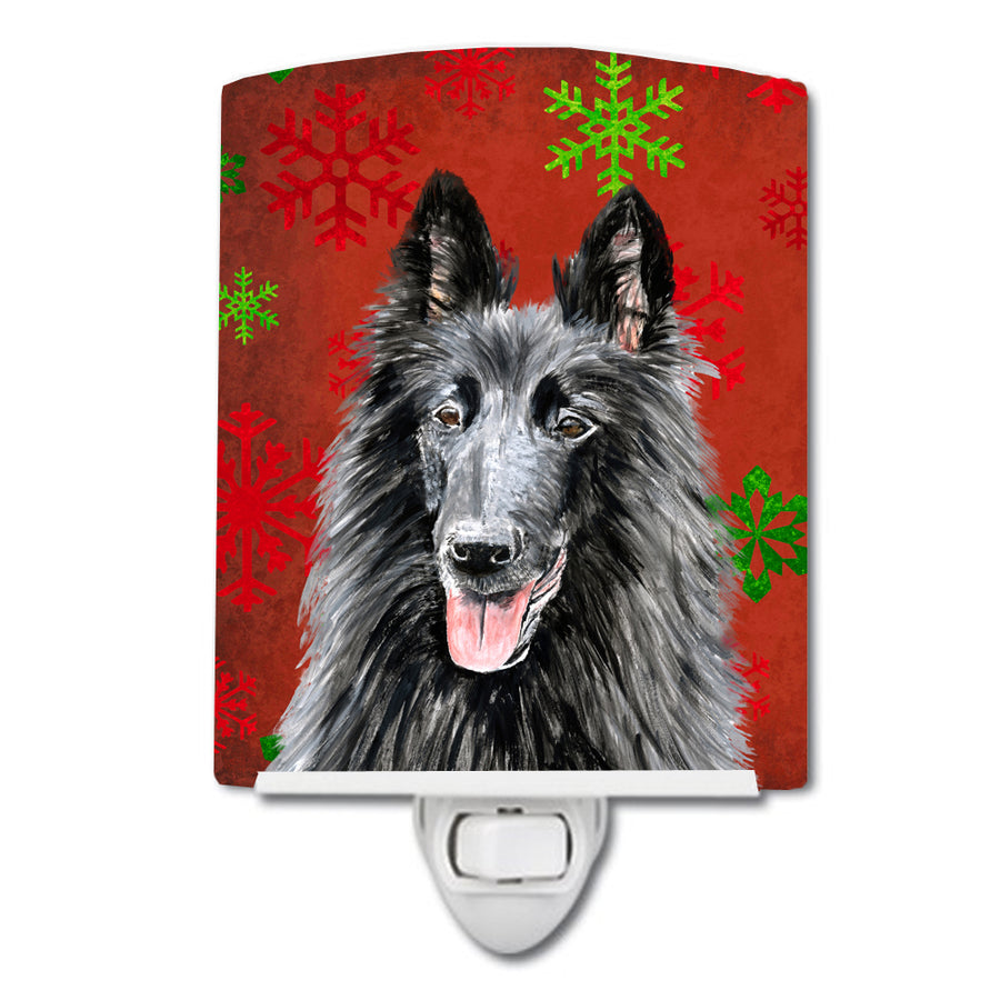 Buy this Belgian Sheepdog Red and Green Snowflakes Holiday Christmas Ceramic Night Light SC9438CNL
