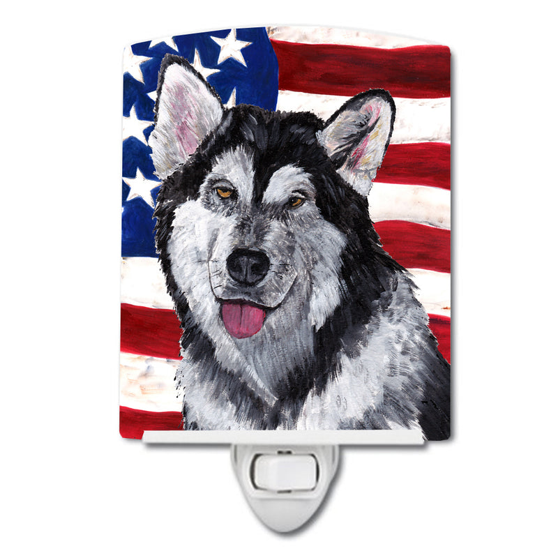 Buy this Alaskan Malamute USA Patriotic American Flag Ceramic Night Light SC9497CNL