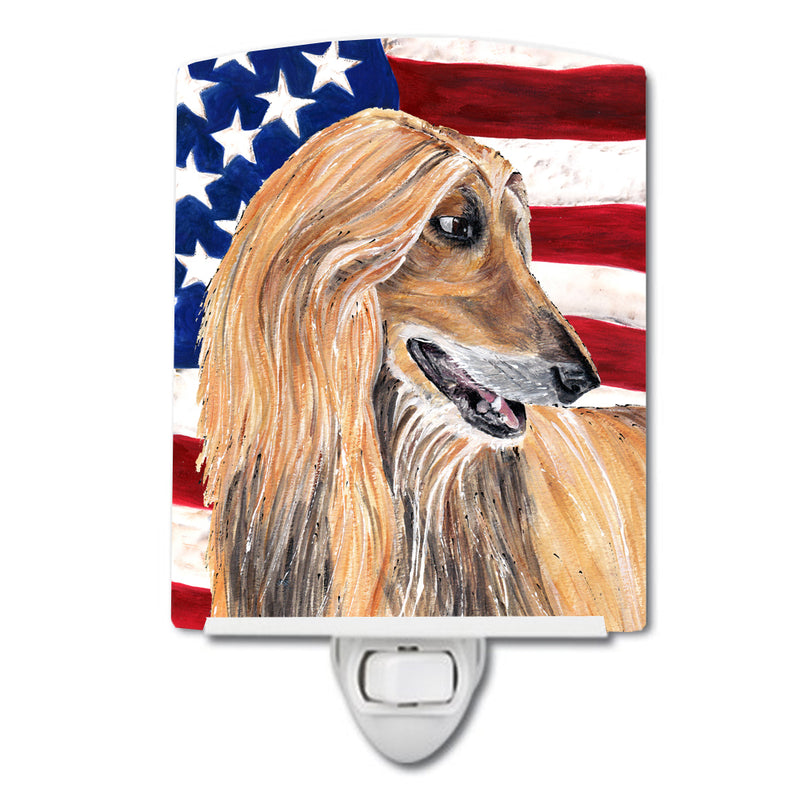 Buy this Afghan Hound USA Patriotic American Flag Ceramic Night Light SC9506CNL