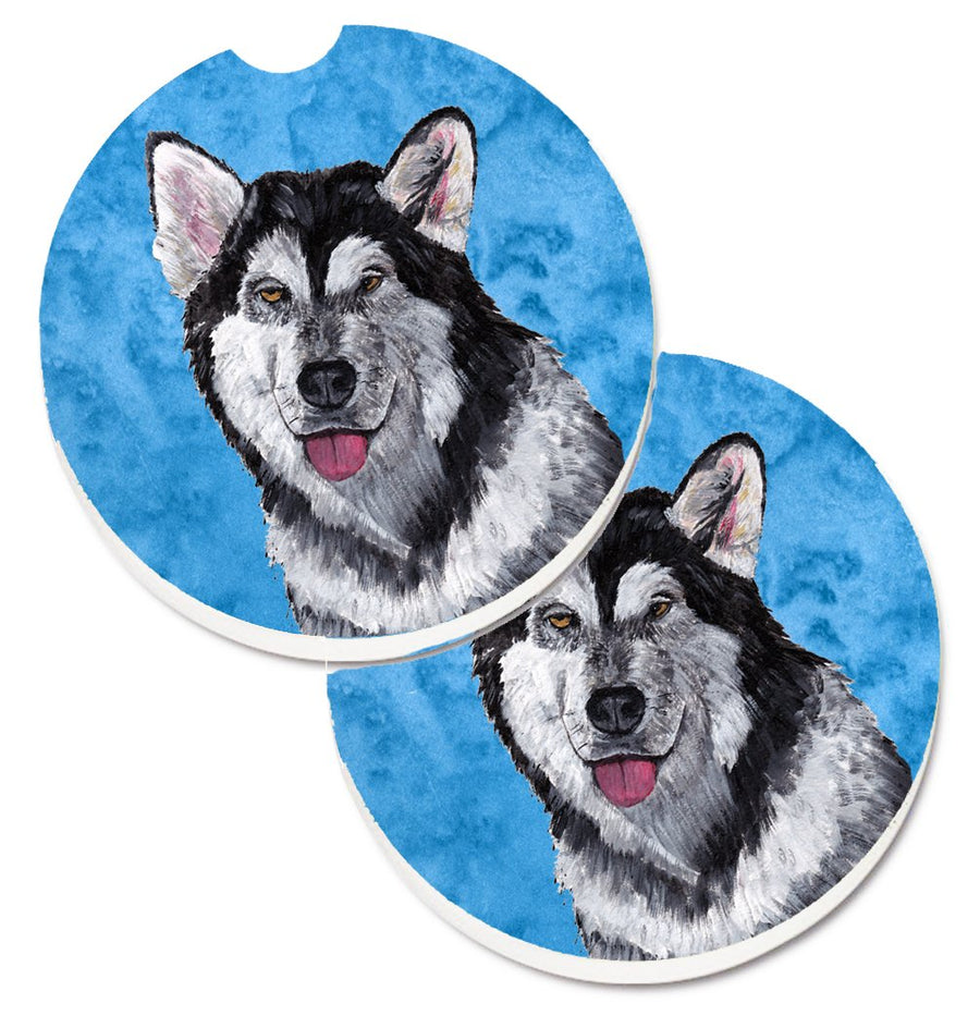 Buy this Blue Alaskan Malamute Set of 2 Cup Holder Car Coasters SC9507BUCARC