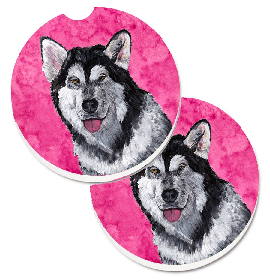 Buy this Pink Alaskan Malamute Set of 2 Cup Holder Car Coasters SC9507PKCARC