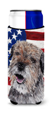 Border Terrier Mix USA American Flag Ultra Beverage Insulators for slim cans by Caroline's Treasures