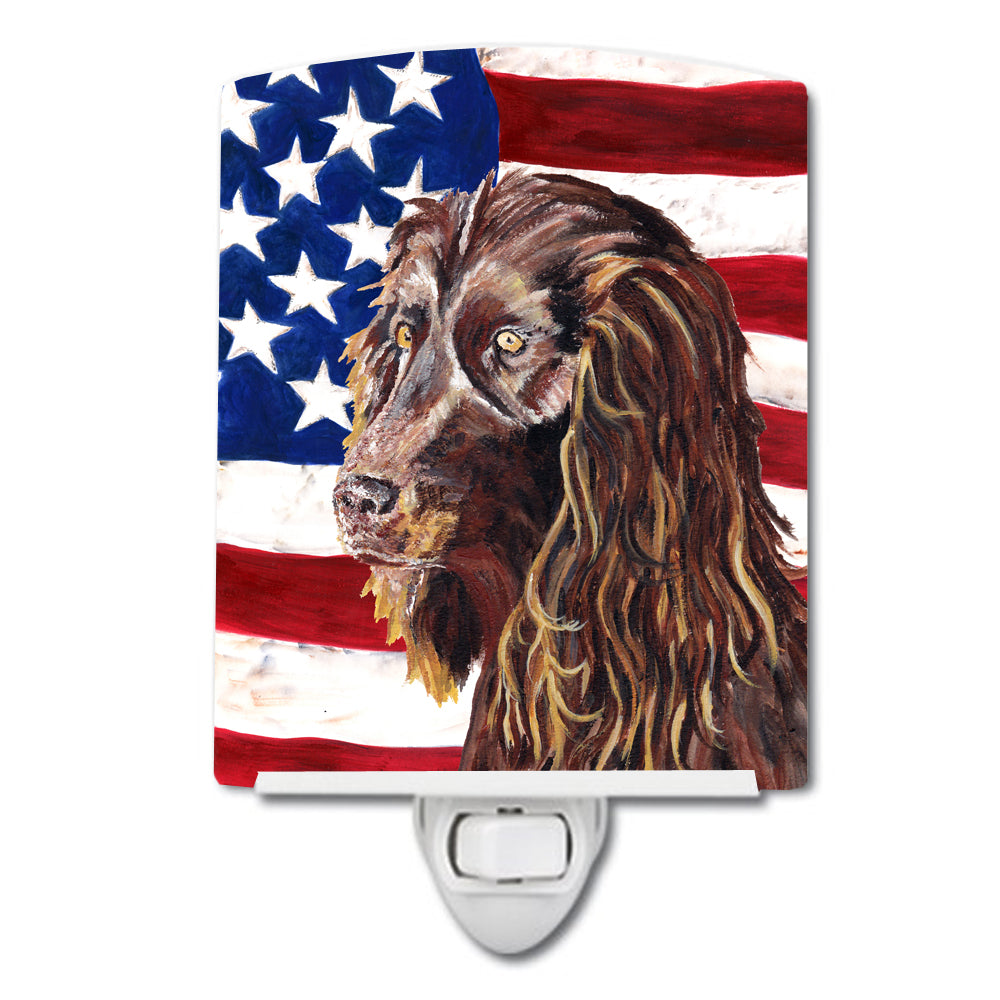 Buy this Boykin Spaniel with American Flag Ceramic Night Light SC9518CNL