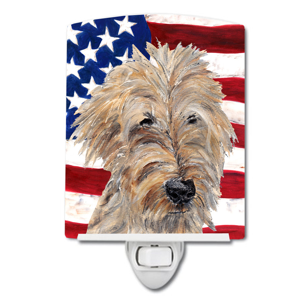 Golden Doodle with American Flag Ceramic Night Light SC9521CNL by Caroline's Treasures