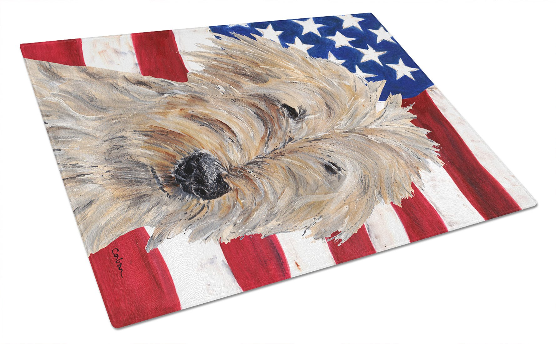 Goldendoodle USA American Flag Glass Cutting Board Large by Caroline's Treasures