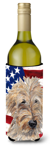 Buy this Goldendoodle USA American Flag Wine Bottle Beverage Insulator Beverage Insulator Hugger