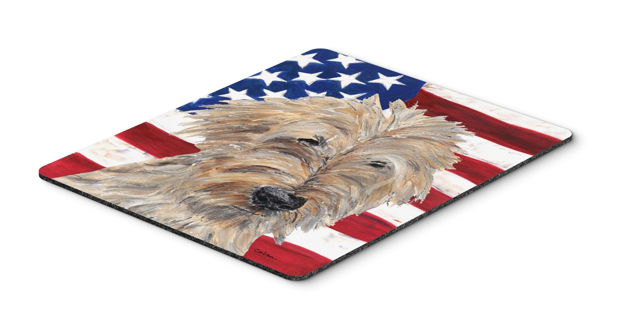 Goldendoodle USA American Flag Mouse Pad, Hot Pad or Trivet by Caroline's Treasures
