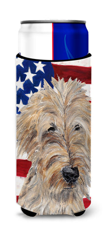 Buy this Goldendoodle USA American Flag Ultra Beverage Insulators for slim cans