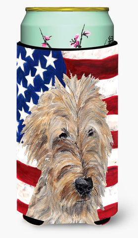 Buy this Goldendoodle USA American Flag Tall Boy Beverage Insulator Beverage Insulator Hugger