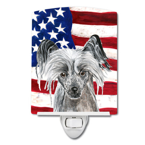 Buy this Chinese Crested with American Flag Ceramic Night Light SC9522CNL