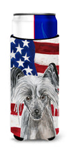 Chinese Crested USA American Flag Ultra Beverage Insulators for slim cans by Caroline's Treasures