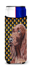 Irish Setter Halloween Candy Corn Ultra Beverage Insulators for slim cans by Caroline's Treasures