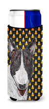 Bull Terrier Halloween Candy Corn Ultra Beverage Insulators for slim cans by Caroline's Treasures
