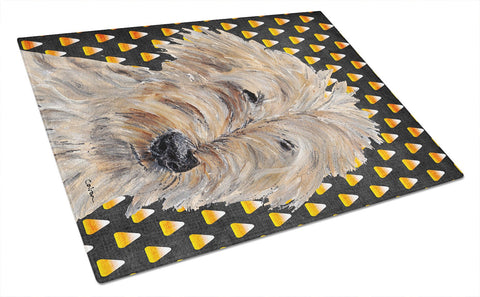 Buy this Goldendoodle Halloween Candy Corn Glass Cutting Board Large